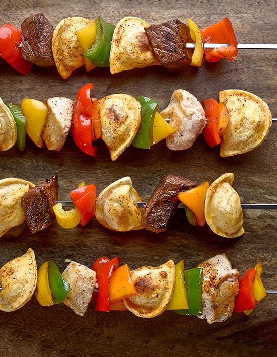 Grilled Veggie Pierogy Kabobs
