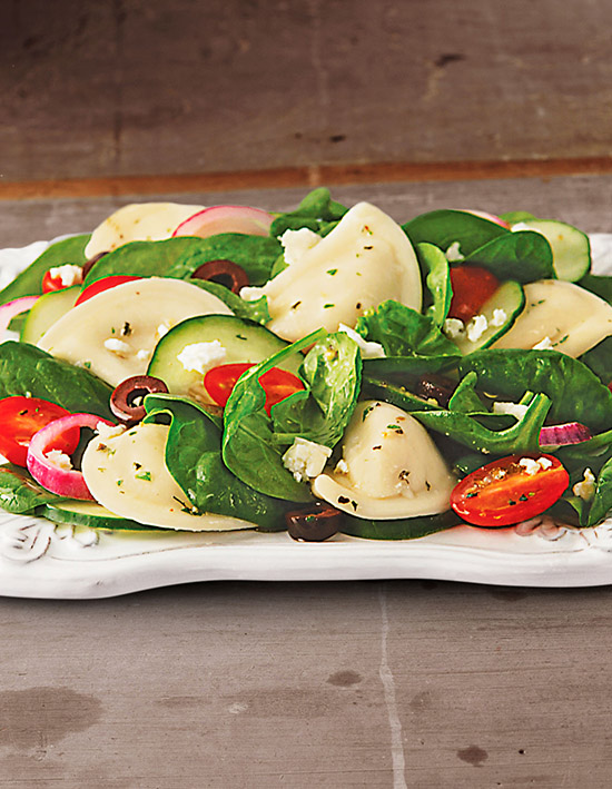 Crumbled Feta and Baby Spinach Pierogy Salad