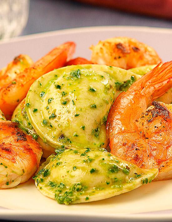 Fresh Cilantro Shrimp & Pesto Pierogies